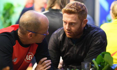 England star Jonny Bairstow reacts after his Hundred team sign Ashes rivals Steve Smith and Mitchell Starc